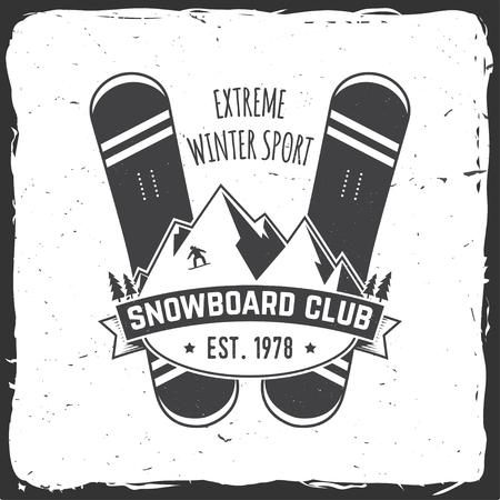 Snowboard Club. Vector illustratie. Concept voor shirt, print, stempel of tee. Vintage typografieontwerp met snowboard en helmsilhouet. Extreme wintersport.