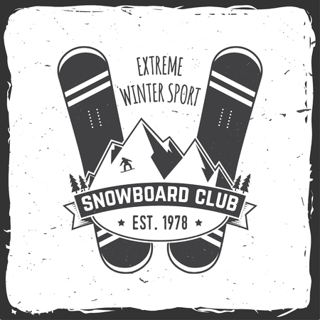 Snowboard Club. Vector illustration. Concept for shirt , print, stamp or tee. Vintage typography design with snowboard and helmet silhouette. Extreme winter sport. Illustration