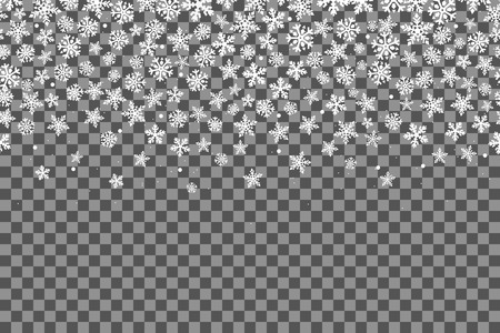 Seamless pattern with snowflakes for New Year celebration on transparent background. Vector Illustration. Christmas snow fall decoration effect. Happy New Year.