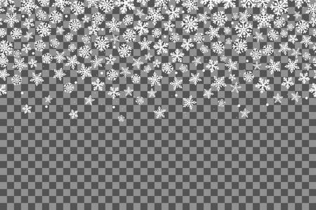Patrón sin fisuras con los copos de nieve para la celebración del año nuevo en el fondo transparente. Ilustración vectorial Efecto de decoración de Navidad caída de nieve. Feliz año nuevo.