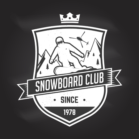Snowboard Club. Vector illustration. Concept for shirt, print, stamp or tee. Vintage typography design with snowboarder and mountain silhouette. Extreme sport. Chalk drawing on a blackboard.