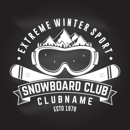 Snowboard Club. Vector. Concept for shirt , print, stamp or tee. Vintage typography design with mountains and snowboard goggles silhouette. Extreme winter sport. Chalk drawing on a blackboard.