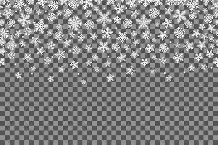 Seamless pattern with snowflakes for New Year celebration on transparent background, Christmas snow fall decoration effect.
