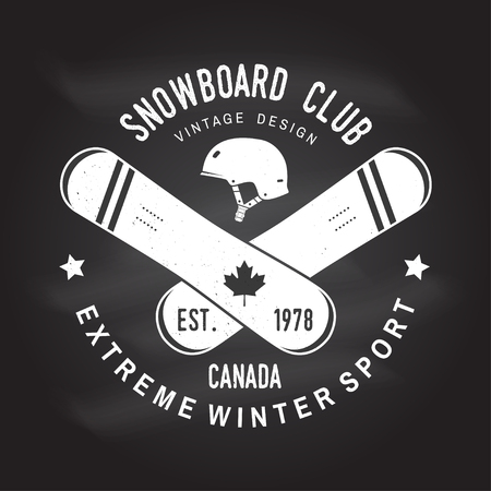 Snowboard Club illustration for shirt, print, stamp or tee. Vettoriali