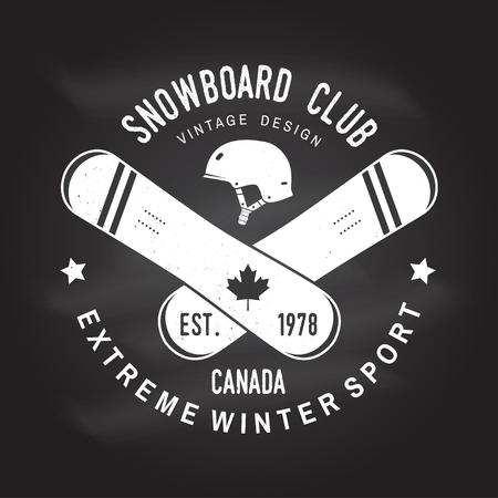 Snowboard Club-illustratie voor overhemd, druk, zegel of T-stuk. Stock Illustratie