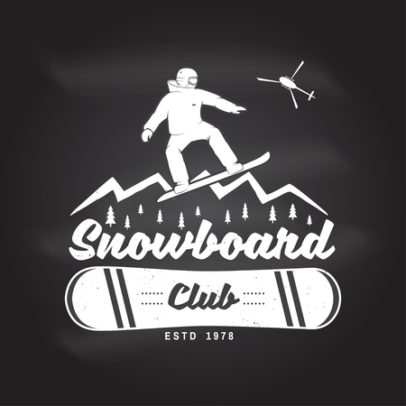 Snowboard Club. Vector illustration. Concept for shirt or icon, print, stamp or tee.
