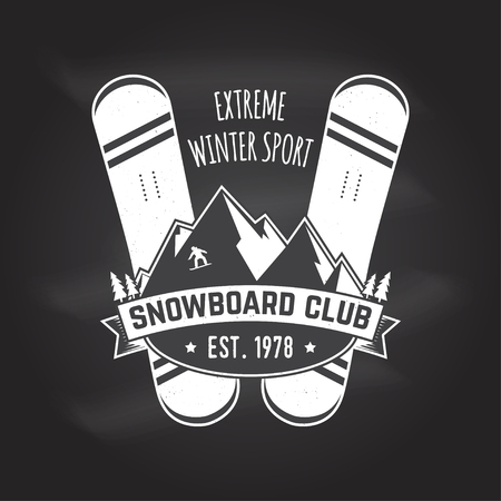 Snowboard Club for shirt , print, stamp or tee with Vintage typography design with snowboard and helmet silhouette, Extreme winter sport, Chalk drawing on a blackboard. Illustration