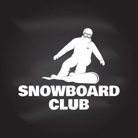 Snowboard Club. Vector illustration. Concept for shirt, print, stamp or tee. Vintage typography design with snowboarder silhouette. Extreme sport. Chalk drawing on a blackboard.