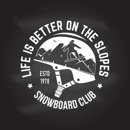 Snowboard Club. Vector illustration. Concept for shirt, print, stamp or tee. Stock Photo