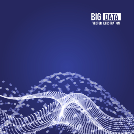 Visual Analytics for Big Data. Vector illustration. Dynamic visualizations with connecting dots and low poly shape. Legacy Data and Streaming Data. Illustration