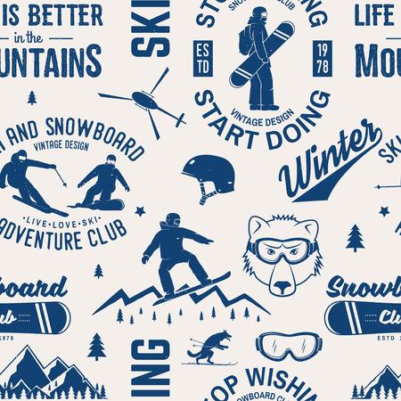 스키와 스노우 보드 클럽 원활한 패턴입니다. 벡터 일러스트 레이 션. 셔츠, 인쇄, 스탬프, 배지 또는 티에 대 한 개념. 빈티지 활판 인쇄 디자인 스노와 일러스트