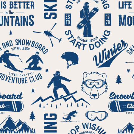 Ski and Snowboard Club seamless pattern. Vector illustration. Concept for shirt, print, stamp, badge or tee. Vintage typography design with snowboarder and skier silhouette. Winter Extreme sport. 向量圖像