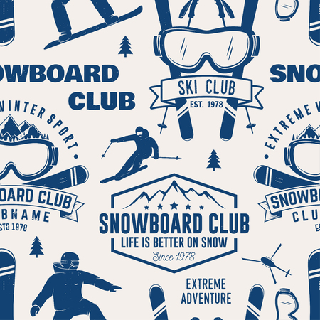 Ski and Snowboard Club seamless pattern. Vector illustration. Concept for shirt, print, stamp, badge or tee. Vintage typography design with snowboarder and skier silhouette. Winter Extreme sport. Vectores