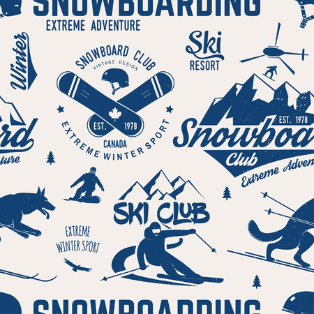 Ski and Snowboard Club seamless pattern. Vector illustration. Concept for shirt, print, stamp, badge or tee. Vintage typography design with snowboarder and skier silhouette. Winter Extreme sport. Vettoriali