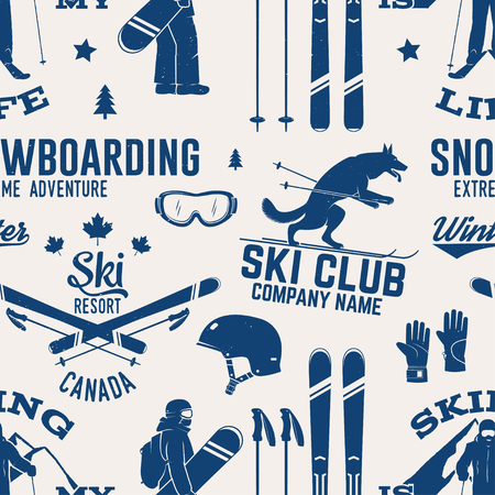 Ski and Snowboard Club seamless pattern. Vector illustration. Concept for shirt, print, stamp, badge or tee. Vintage typography design with snowboarder and skier silhouette. Winter Extreme sport.  イラスト・ベクター素材
