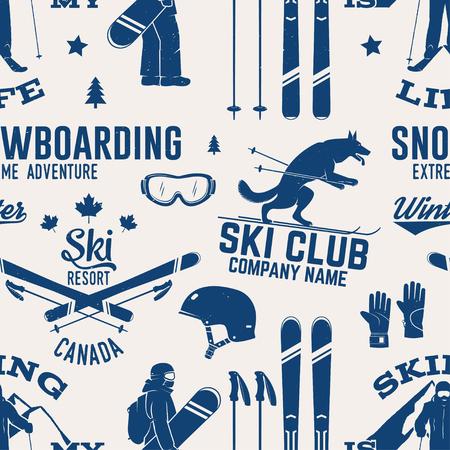 Modèle sans couture de ski et snowboard club. Illustration vectorielle Concept pour chemise, impression, tampon, badge ou tee-shirt. Conception de typographie vintage avec la silhouette de snowboarder et skieur. Sports extrêmes d'hiver.