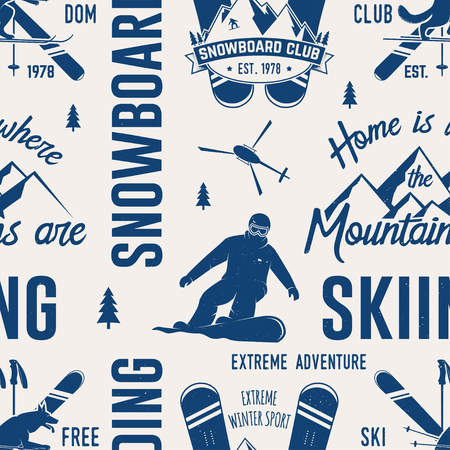 Ski and Snowboard Club seamless pattern. Vector illustration. Concept for shirt, print, stamp, badge or tee. Vintage typography design with snowboarder and skier silhouette. Winter Extreme sport. Stock Illustratie