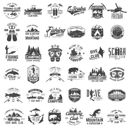 Vissen, kamperen en duikclub met ontwerpelementen. Vector illustratie Concept voor shirt, print, stempel of tee. Vintage typografieontwerp met hengel silhouet. Vector Illustratie
