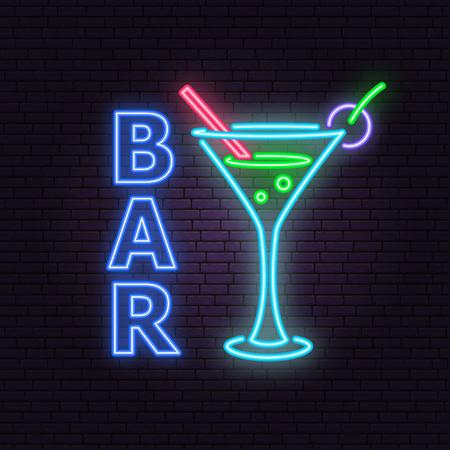 Bar and cocktail neon emblem. Vector illustration. Neon sign for banner, billboard, promotion or advertisement.