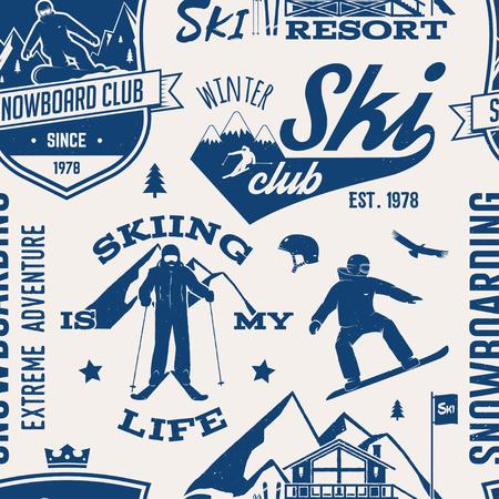 Ski and snowboard club pattern. Vettoriali
