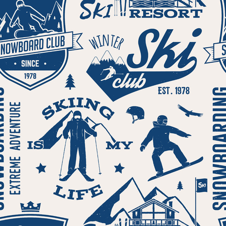 Ski and snowboard club pattern. Illustration