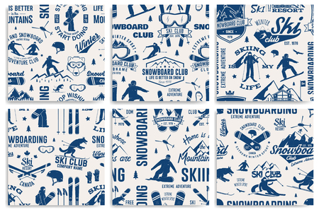 Set of Ski and Snowboard Club seamless pattern. Vector illustration.