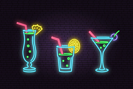Set of cocktail neon emblem. Vector illustration. Neon sign for banner, billboard, promotion or advertisement. Elements on the theme of the restaurant business.