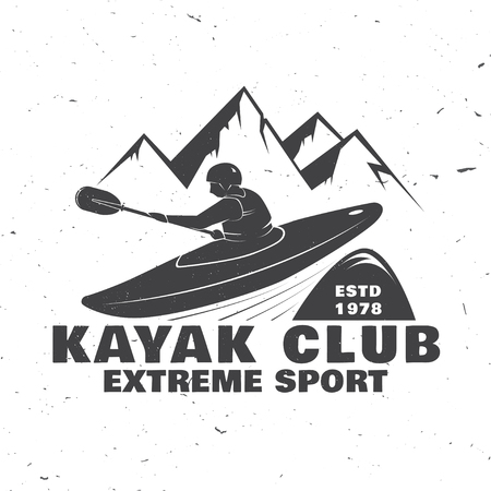 Design with mountain and kayaker silhouette. Иллюстрация