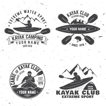 Set of kayak club badge vector illustration.  イラスト・ベクター素材