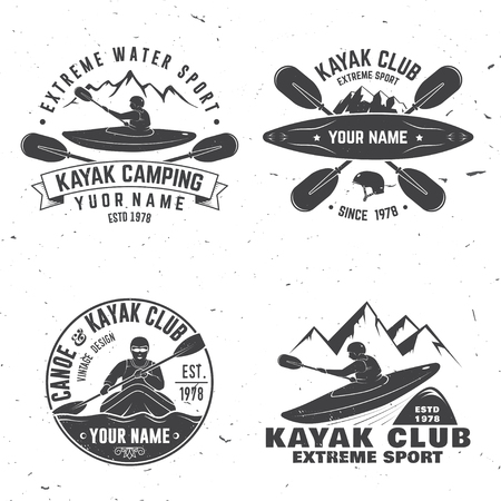Set of kayak club badge vector illustration. Imagens - 92575363
