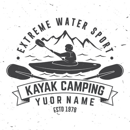Kayak camping vector illustration.