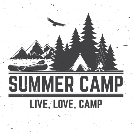 Summer camp vector illustration concept for shirt or logo, print, stamp or tee.