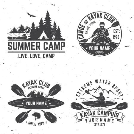 Set of kayak club badge vector illustration. Vectores
