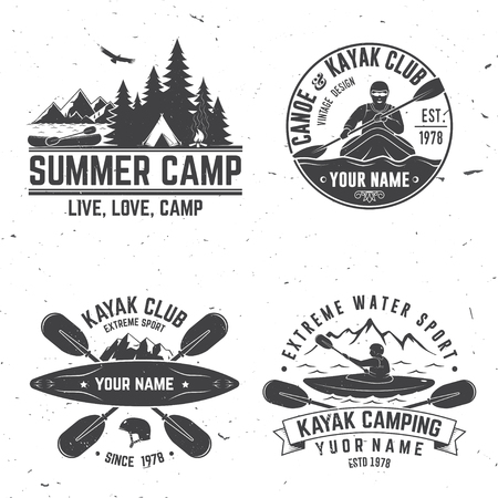 Set of kayak club badge vector illustration. Illustration