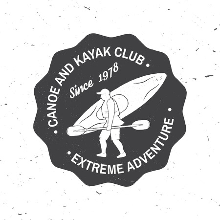 Canoe and kayak club badge vector illustration.