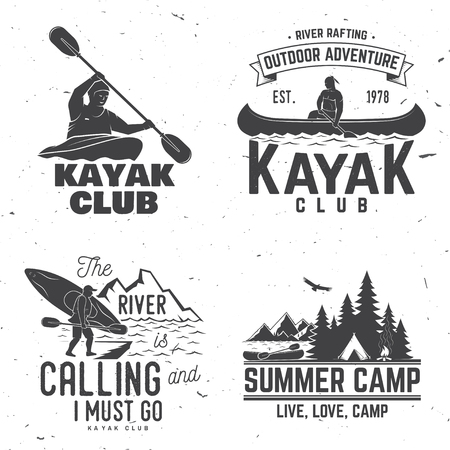 Set of kayak club badge. Vector illustration. Concept for shirt, print, stamp or tee. Vintage typography design with mountain, river and kayaker silhouette. Extreme water sport.