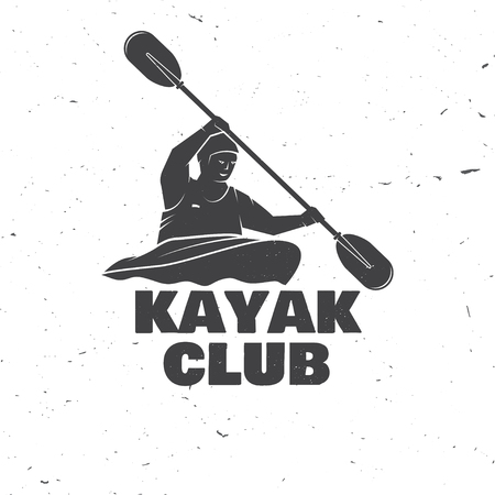 Kayak club. Vector illustration. Concept for shirt, print, stamp or tee. Vintage typography design with kayaker silhouette. Extreme water sport. Stock Illustratie
