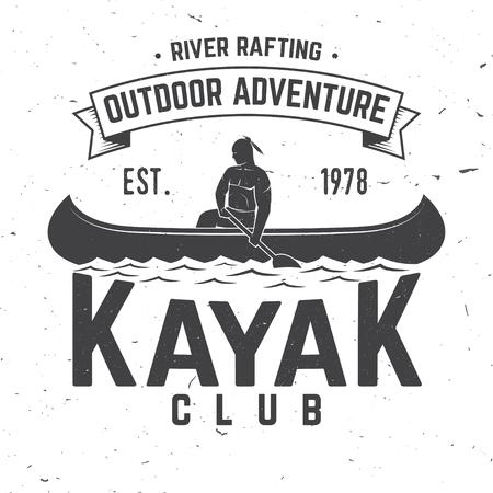 Kayak club. Vector illustratie. Concept voor shirt, print, stempel of tee. Vintage typografieontwerp met kayaker silhouet. Extreme watersporten. Stockfoto - 92951060