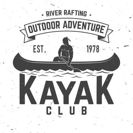 Kayak club. Vector illustration. Concept for shirt, print, stamp or tee. Vintage typography design with kayaker silhouette. Extreme water sport. Ilustração