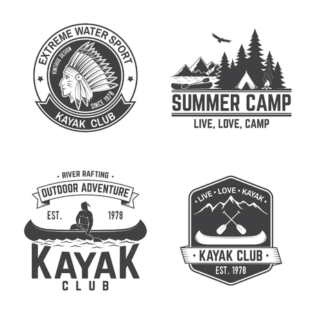 Set of kayak club badges. Vector illustration. Concept for shirt, print, stamp or tee. Vintage typography design with mountain, river and kayaker silhouette. Extreme water sport. Ilustrace