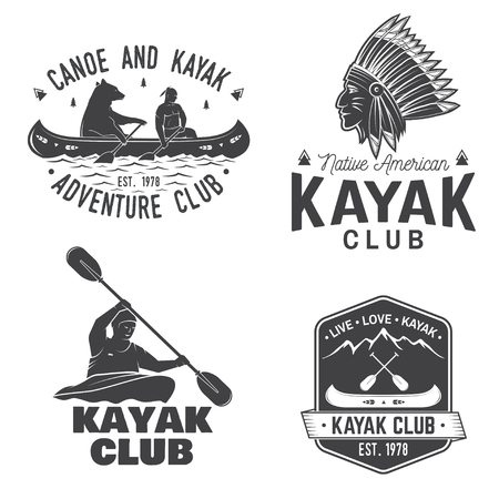 Set of canoe and kayak club badges vector illustration. Ilustração