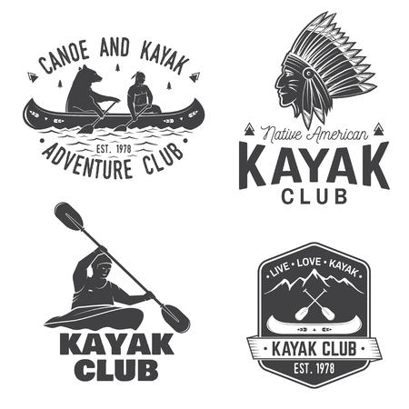 Set van kano en kajak club badges vector illustratie.