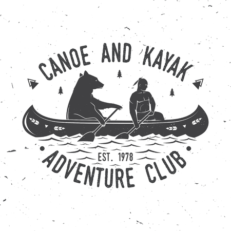 Canoe and Kayak club vector illustration. Çizim