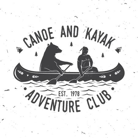 Canoe and Kayak club vector illustration. Stock Illustratie
