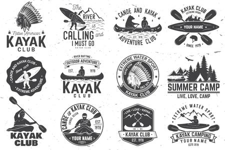 Set of canoe and kayak club badges vector illustration. Illustration