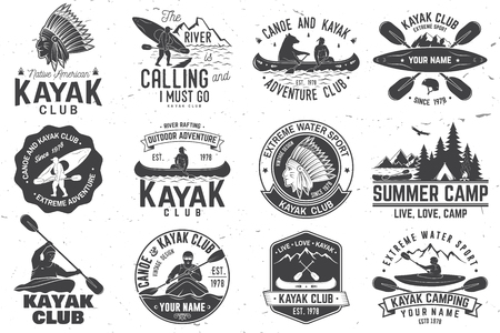 Set of canoe and kayak club badges vector illustration. Çizim