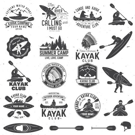 カヌーとカヤッククラブのバッジとデザイン要素のセット。ベクトル。シャツ、プリント、スタンプまたはティーのためのコンセプト。山、川、ア  イラスト・ベクター素材