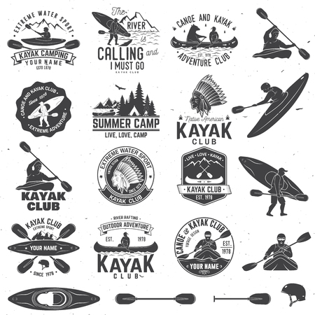 Set of canoe and kayak club badges and design element. Vector. Concept for shirt, print, stamp or tee. Vintage typography design with mountain, river, american indian and kayaker silhouette. Stok Fotoğraf - 92951175