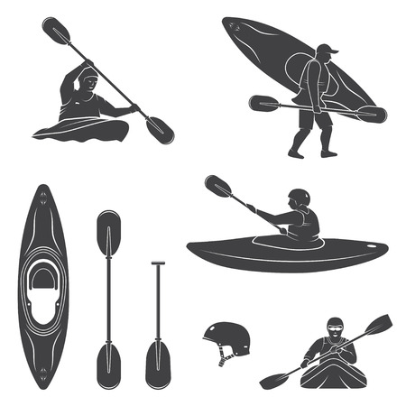 Set of extrema water sports equipment, kayaker and canoe silhouettes. Vector illustration. Collection include kayak, paddles, helmet and kayaker silhouettes. Çizim