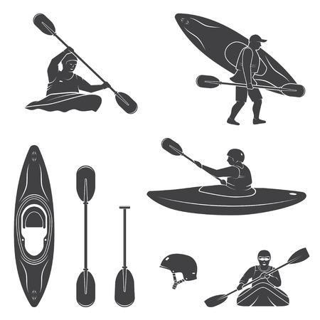 Zestaw sprzętu do sportów wodnych Extrema, sylwetki kajakarzy i kajaków. Ilustracji wektorowych. Kolekcja obejmuje kajaki, wiosła, kask i sylwetki kajakarzy.